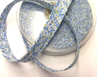 1 meter of fabric Biase tape 20 mm - blue and white