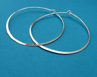 hammered, sterling hoops - pretty big, XL, 18ga 16ga, 1.75 inch