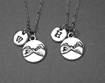 Best friend necklace, pinky promise necklace, pinky swear necklace, BFF necklace, best friend jewelry, personalized necklace, initial charm