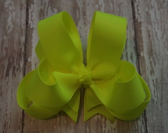 """Girls Hair Bow Neon Yellow 4"""" Boutique Layered Hairbow Neon Yellow Hair Bow"""