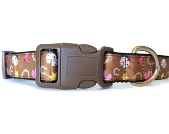 Brown and Pink Cowgirl Dog Collar - Adjustable, Western, Country, Girl Dog