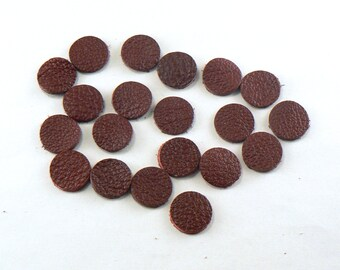 """1/2"""" Mahogany Red Leather Circles - 20 Die Cut Leather Circles - Leather Circle Appliques -  Leather Disks - Craft Leather Circles"""