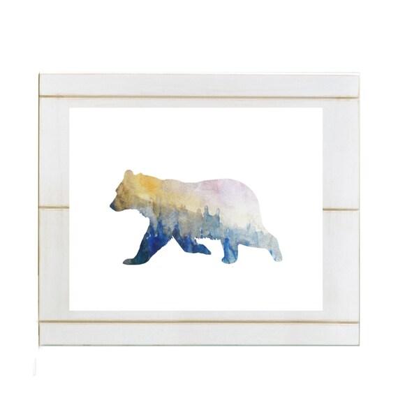 Aquarell Blau Woodland tragen Printable Aquarell Bear