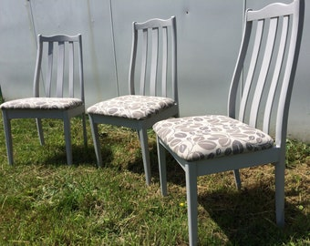 Upcycled Flint Leaf Dining Chairs Set of 3