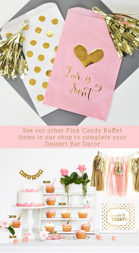Pink Candy Buffet Bags Gold Pink Candy Bags Wedding Candy