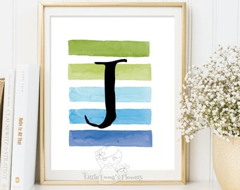 Nursery Letter Monogram boy room Art printable initials calligraphy monogram print newborn gift Baby shower favor Initial playroom decor 16