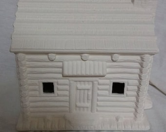 "Village Log Cabin 6"" x 6"" Ceramic Bisque, Ready To paint"