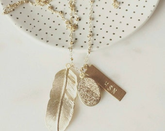 Personalized golden druzy and feather necklace, Celeste, pretty modern jewelry