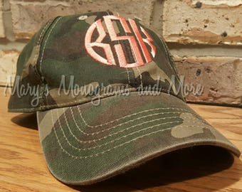 Embroidery Monogrammed Camo Baseball Hat - Monogrammed Camouflage Ball Cap - Camo Hat with Initials