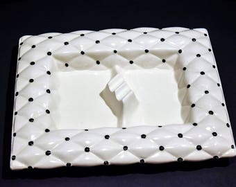 MCM Porcelain Cigarette Ashtray Arnel's Signed Quilted Texture White Gilded Pottery ~Black and White~Polka Dot~Chic~Retro~She cave~