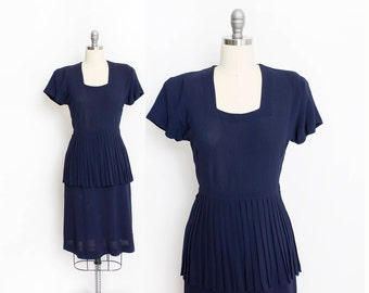 Vintage 1940s Dress - Navy Blue Rayon Pleated Skirt Day Dress - Small