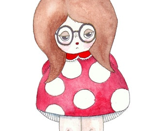 "Betty Shroomski Illustration Print - 8.5""x11"" or 5""x7"""