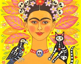"Signed A4 Limited Edition Giclee Print ""Frida And Friends"" lovers of Frida Kahlo and the Mexican Day Of The Dead! By Laura Robertson"