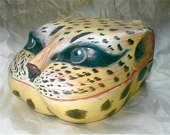 Leopard Box - Painted Wooden Carved Box - Vintage 80s Cat Face Storage Oddity