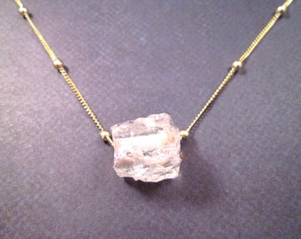 Gemstone Necklace, Natural Square Clear Crystal Agate Druzy Pendant,  Gold Chain Necklace, FREE Shipping U.S.