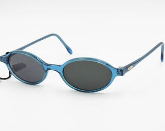Look sunglasses mod. 1215 little oval shades, blue semitransparent acetate, Hipster Dandy spectacles, New Old Stock