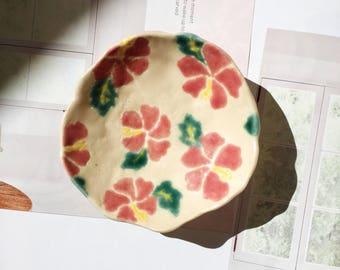 handmade hand painted ceramic trinket dish