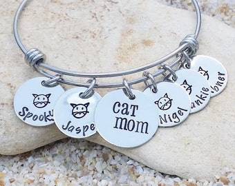 Jewelry - Bangle - Bracelet - Cat - Cat Bangle - Cat Mom - Personalized Bangle - Name Bangle - Fur Baby - Cat Jewelry - Animal Rescue - Gift