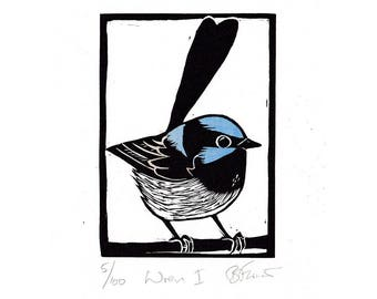Linocut of Superb Fairy Wren with Hand Painted Colour, Australian Bird Print, Printmaking, Lino Print