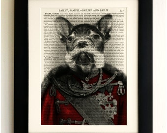 ART PRINT on old antique book page - Dog in Uniform, French Bulldog, Vintage Wall Art Print, Encyclopaedia Dictionary Page, Fab Gift!