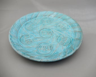 Passover Ceramic Seder Plate - Unique Handmade Decorative Pottery- Pesach Plate - Turquoise Pottery -  Carved Platter