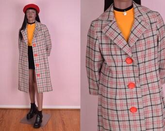 VTG Plaid Coat/ Medium/ Vintage/ Jacket