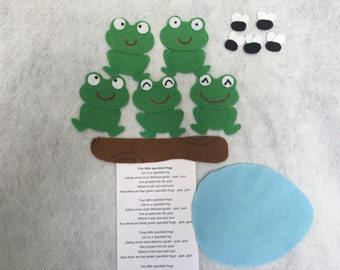 Five Little Speckled Frogs Felt Board Activity Set/ Flannel Board / Imagination/Preschool/Creative Play/Song/Adventure