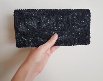 Beautiful Black Beaded Vintage Purse