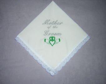 Irish Mother of the Groom Keepsake Heirloom Wedding Handkerchief gift (Claddagh)