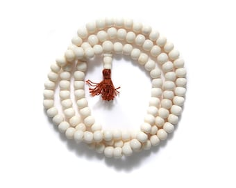 108 Bone Mala Necklace White Round Beads, 108 Bone Mala prayer beads.