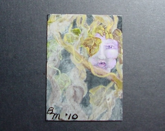 Aceo Painting Grapevine Gossips Original Free Shipping