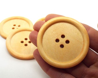 4 Very Large Light Wooden Round 4 hole Buttons 50mm Giant Button