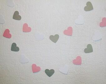 Rosa gris papel corazón Garland / guirnalda cumpleaños boda GARLAND / decoración nupcial de la ducha decoración del partido /