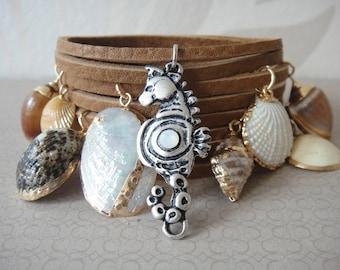 Ocean dreams leather wrap bracelet