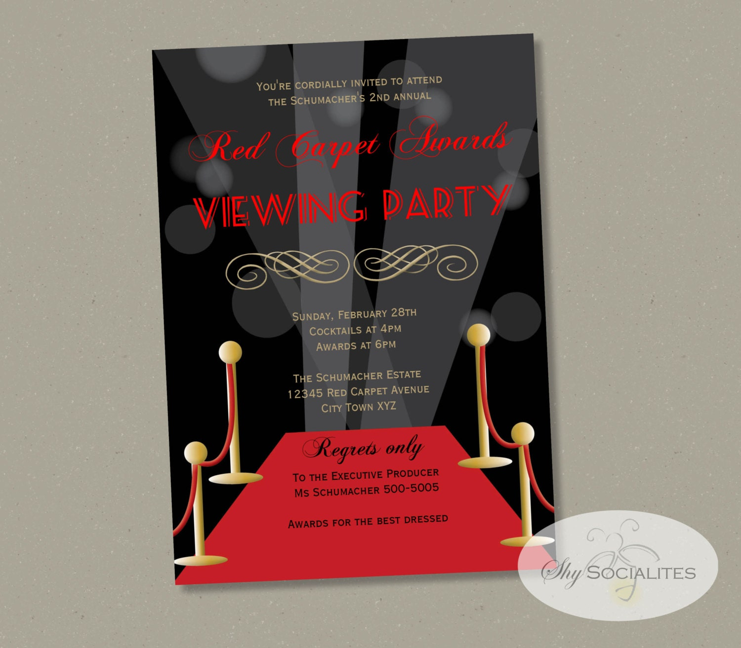 Red Carpet Awards Viewing Invitation Red Carpet Party