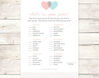 bridal shower game what's in your purse printable DIY pink aqua blue hearts wedding shower digital games - INSTANT DOWNLOAD