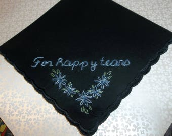 black wedding handkerchief, for happy tears, something blue, elegant keepsake, hand embroidery, blue for bride, bridal gift, mother of bride