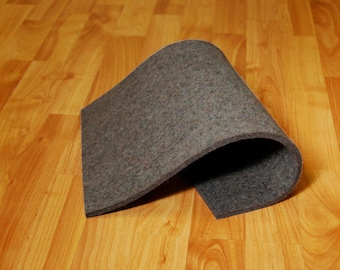 "Low Density Industrial Wool Felt by the Foot - Natural Gray, SAE F15 Grade, 72"" Wide, 1/8"" to 1"" Thicknesses Available"