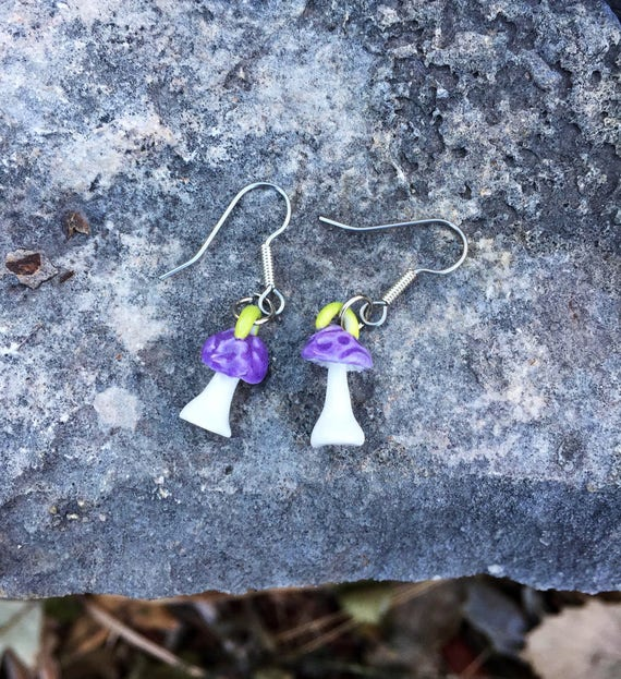 porcelain mushroom earrings in purple and white