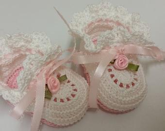 Baby Booties, Baby Girl Booties, Crochet Baby Booties, Pink Roses, Newborn Baby Girl, Reborn Doll, Christening Booties, Baby Shower Gift