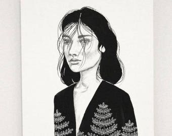 Black and white portrait, original artwork in ink and pencil