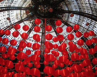 Paris Photography, Red Balloons in Paris, Galleries Lafayette Ceiling, Red Lanterns, paris home decor, France, red wall art