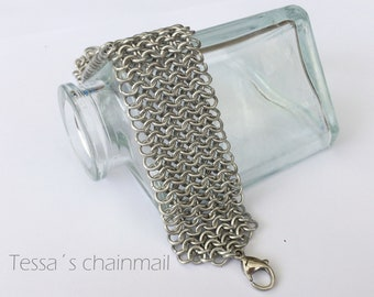 Chainmaille bracelet, silver bracelet, cuff bracelet, european chainmaille.
