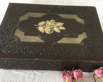 Vintage Leather Like Embossed Box. Beautiful Box With Swirly Designs Candy Box to Use as a Sewing Box. Box for Treasures. Box and Contents.