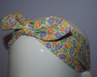 Top knot bow retro style elastic back headband / retro flowers
