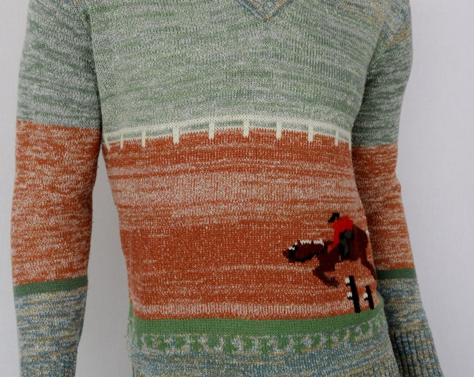 Vintage 1970's Men's Equestrian Horse Racing NoVeLty HiPPiE HiPsTeR SPaCe DyeD Sweater Size L
