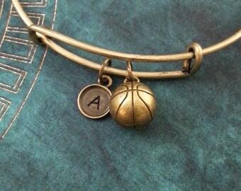 Basketball Bangle Bracelet SMALL Bronze Basketball Bracelet Brass Basketball Jewelry Stackable Bangle Adjustable Bangle Personalized Bangle