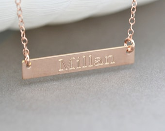 Bar Necklace, Gold Bar Necklace Personalize, Initial Bar Necklace, Name Necklace Bar, Engraved, Customized