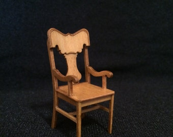"""1/2"""" or 1:24 Assembled Stained Kitchen Arm Chair (CC5071)"""