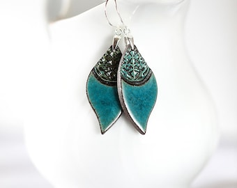 Turquoise dangle earrings Turquoise ceramic earrings on sterling silver earwires Long earrings turquoise and brown Zu Design ceramic jewelry